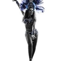 one caucasian woman samba dancer  dancing silhouette  on white background
